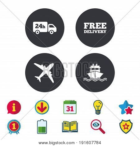 Cargo truck and shipping icons. Shipping and free delivery signs. Transport symbols. 24h service. Calendar, Information and Download signs. Stars, Award and Book icons. Light bulb, Shield and Search