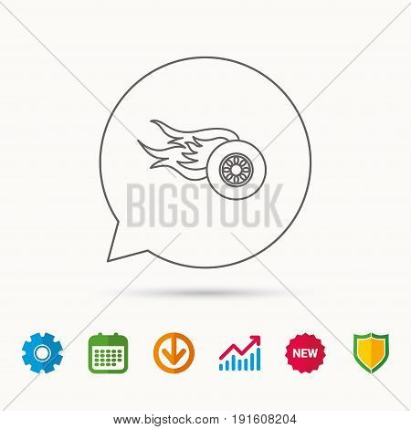 Wheel on fire icon. Race or Speed sign. Calendar, Graph chart and Cogwheel signs. Download and Shield web icons. Vector