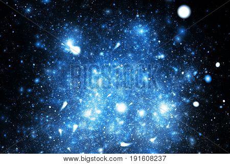 Abstract Blue Sparkles On Black Background. Fantasy Fractal Texture. Digital Art. 3D Rendering.