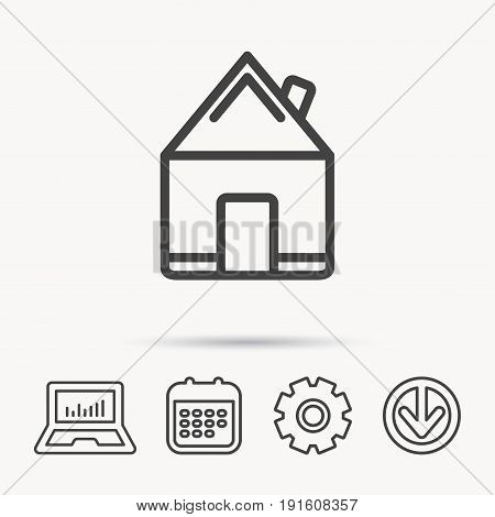 Real estate icon. House building sign. Real-estate property symbol. Notebook, Calendar and Cogwheel signs. Download arrow web icon. Vector