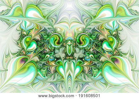 Abstract Gems On White Background. Fantasy Symmetrical Fractal Texture In Grey, Yellow, Blue And Gre