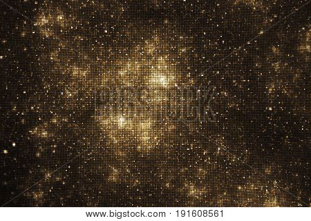 Abstract Glittering Texture With Gold Sparkles On Black Background. Fantasy Fractal Design. Digital