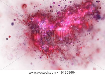 Bright Splash. Abstract Red And Pink And Sparkles On White Background. Fantasy Fractal Texture. Digi