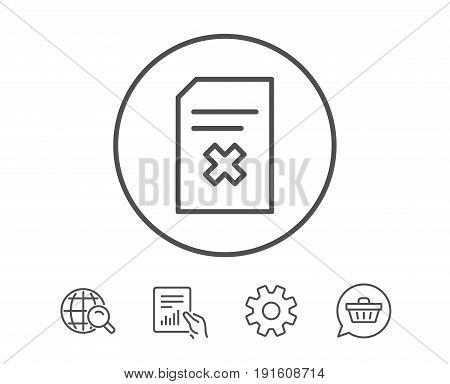 Remove Document line icon. Delete Information File sign. Paper page concept symbol. Hold Report, Service and Global search line signs. Shopping cart icon. Editable stroke. Vector