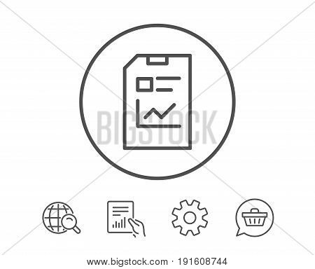 Report Document line icon. Analysis and Statistics File sign. Paper page concept symbol. Hold Report, Service and Global search line signs. Shopping cart icon. Editable stroke. Vector