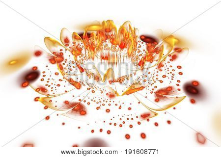 Abstract Exotic Fiery Flower With Glowing Sparkles On White Background. Fantasy Fractal Design. Psyc