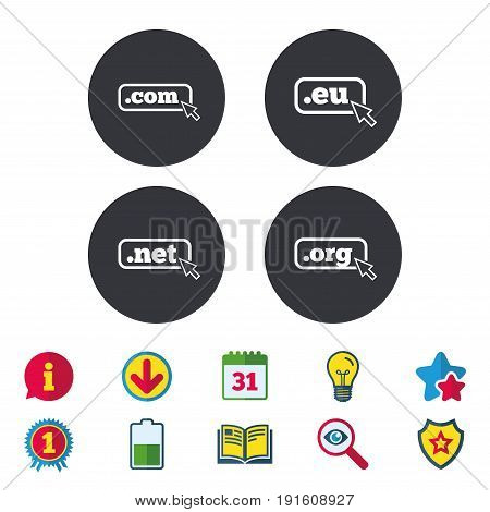 Top-level internet domain icons. Com, Eu, Net and Org symbols with cursor pointer. Unique DNS names. Calendar, Information and Download signs. Stars, Award and Book icons. Vector