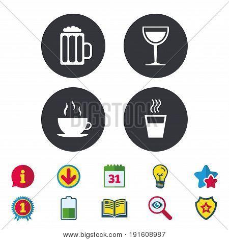 Drinks icons. Coffee cup and glass of beer symbols. Wine glass sign. Calendar, Information and Download signs. Stars, Award and Book icons. Light bulb, Shield and Search. Vector