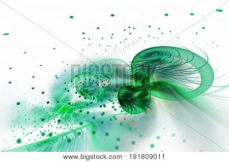 Abstract Exotic Flower With Colorful Drops On White Background. Fantastic Fractal Design In Green Co