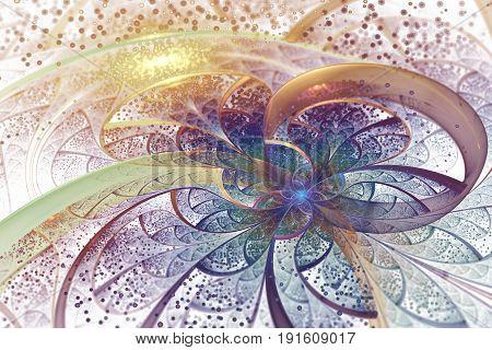 Abstract Exotic Flower With Golden Sparks On White Background. Fantastic Fractal Design In Orange, Y