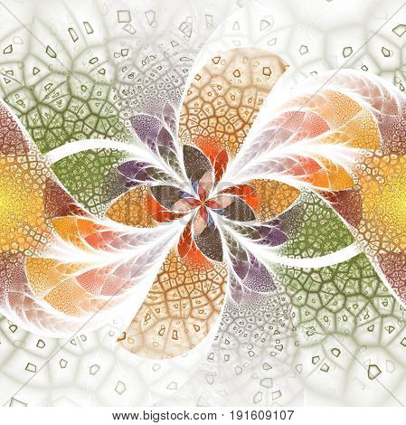Exotic Flower With Textured Petals On White Background. Abstract Symmetrical Floral Design In Orange