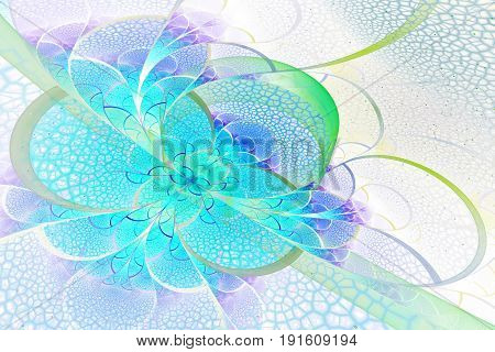 Abstract Exotic Flower With Textured Petals On White Background. Fantastic Fractal Design In Violet,
