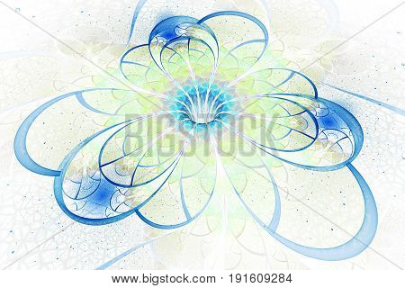 Abstract Exotic Flower With Textured Petals On White Background. Fantastic Fractal Design In Light G