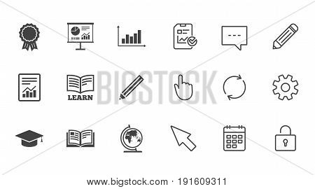 Education and study icon. Presentation signs. Report, analysis and award medal symbols. Chat, Report and Calendar line signs. Service, Pencil and Locker icons. Click, Rotation and Cursor. Vector