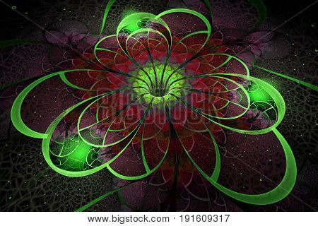 Abstract Exotic Flower With Textured Petals On Black Background. Fantastic Fractal Design In Green A