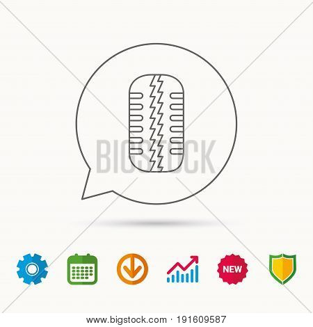 Tire tread icon. Car wheel sign. Calendar, Graph chart and Cogwheel signs. Download and Shield web icons. Vector