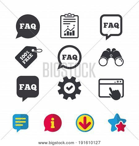 FAQ information icons. Help speech bubbles symbols. Circle and square talk signs. Browser window, Report and Service signs. Binoculars, Information and Download icons. Stars and Chat. Vector