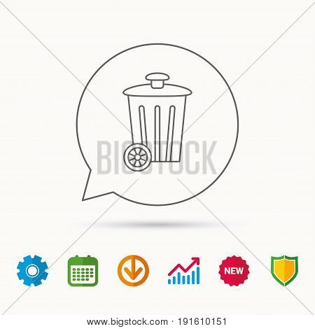 Recycle bin icon. Trash container sign. Street rubbish symbol. Calendar, Graph chart and Cogwheel signs. Download and Shield web icons. Vector