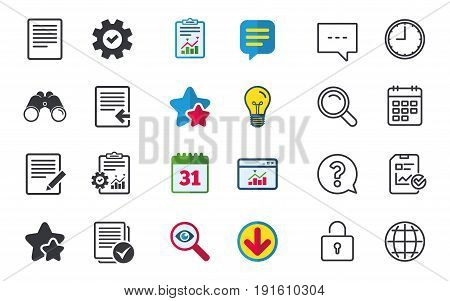 File document icons. Upload file symbol. Edit content with pencil sign. Select file with checkbox. Chat, Report and Calendar signs. Stars, Statistics and Download icons. Question, Clock and Globe