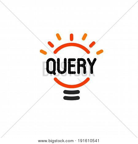 New question mark symbol, flat bright cartoon bulb. White and orange colors sign. Stylized vector lightbulb colorful logotype. Query icon, circle line logo.