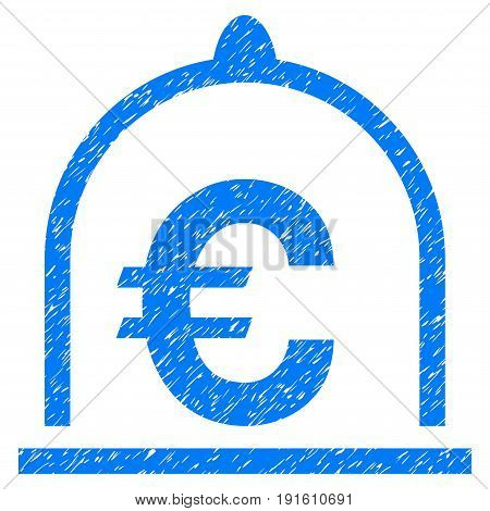 Grunge Euro Standard icon with grunge design and dust texture. Unclean vector blue pictogram for rubber seal stamp imitations and watermarks. Draft sticker symbol.