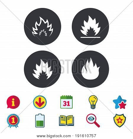 Fire flame icons. Heat symbols. Inflammable signs. Calendar, Information and Download signs. Stars, Award and Book icons. Light bulb, Shield and Search. Vector