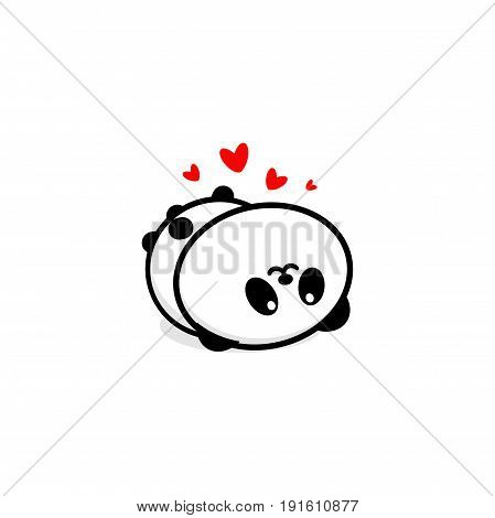 Cute Panda In love and rest vector illustration, Baby Bear logo, new design line art, Chinese Teddy-bear Black color sign, simple image, picture with animal played.