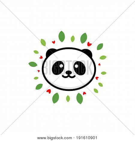Cute Panda on positive vector illustration, Baby Bear logo, new design line art, Chinese Teddy-bear Black color sign, simple image, picture with animal, leaves and hearts