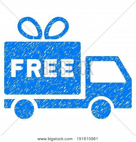 Grunge Free Shipment icon with grunge design and unclean texture. Unclean vector blue pictogram for rubber seal stamp imitations and watermarks. Draft sticker symbol.