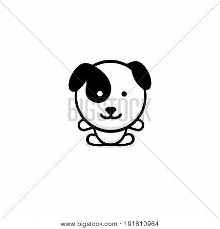 Cute Dog vector illustration, Baby Puppy logo, new design art, Pet Black color sign, simple image, picture with animal