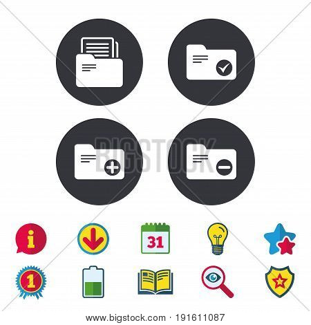 Accounting binders icons. Add or remove document folder symbol. Bookkeeping management with checkbox. Calendar, Information and Download signs. Stars, Award and Book icons. Vector