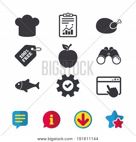 Food icons. Apple fruit with leaf symbol. Chicken hen bird meat sign. Fish and Chef hat icons. Browser window, Report and Service signs. Binoculars, Information and Download icons. Stars and Chat