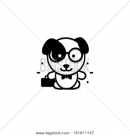Cute Dog businessman vector illustration, Baby Puppy logo, new design art, Pet Black color sign, simple image, picture with animal and bag and glasses