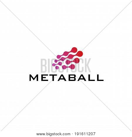 Chip logo blue color metaball, graphic network chain big data base concept, 2d vector illustration isolated on white background, eps 10.