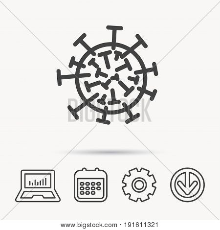 Virus icon. Molecular cell sign. Biology organism symbol. Notebook, Calendar and Cogwheel signs. Download arrow web icon. Vector