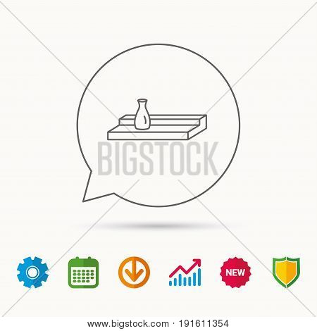 Wall shelf icon. Bookshelf with vase sign. Calendar, Graph chart and Cogwheel signs. Download and Shield web icons. Vector