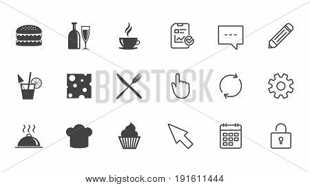 Food, drink icons. Coffee and hamburger signs. Cocktail, cheese and cupcake symbols. Chat, Report and Calendar line signs. Service, Pencil and Locker icons. Click, Rotation and Cursor. Vector