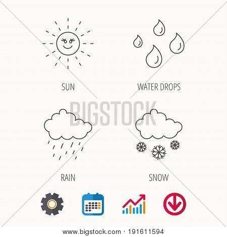 Weather, sun and rain icons. Snow linear sign. Calendar, Graph chart and Cogwheel signs. Download colored web icon. Vector