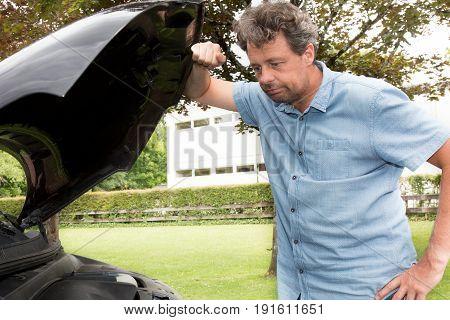 Man Looking Trouble Motor Of Car Break