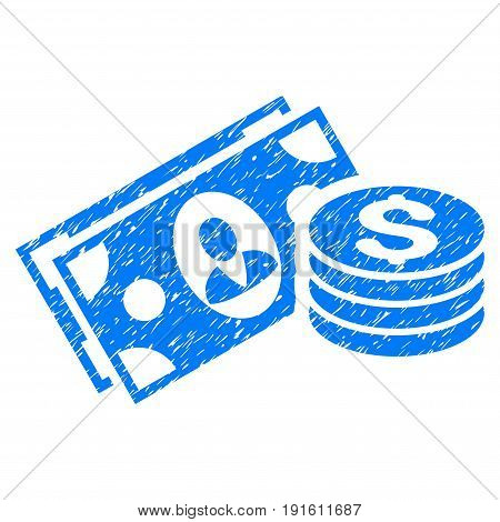 Grunge Money Cash icon with grunge design and scratched texture. Unclean vector blue pictogram for rubber seal stamp imitations and watermarks. Draft emblem symbol.