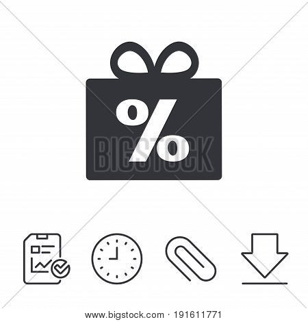 Gift box sign discount icon. Present symbol. Report, Time and Download line signs. Paper Clip linear icon. Vector