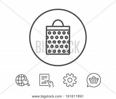 Shopping bag with circles line icon. Present or Sale sign. Birthday Shopping symbol. Package in Gift Wrap. Hold Report, Service and Global search line signs. Shopping cart icon. Editable stroke