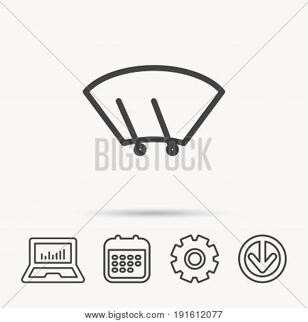 Windscreen wipers icon. Windshield sign. Notebook, Calendar and Cogwheel signs. Download arrow web icon. Vector