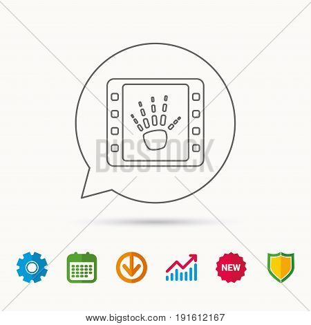 Hand X-ray icon. Human skeleton sign. Calendar, Graph chart and Cogwheel signs. Download and Shield web icons. Vector