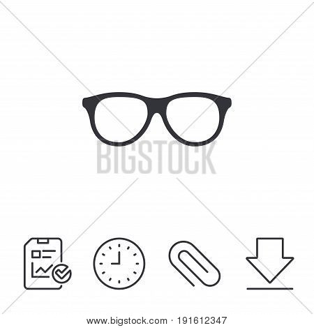 Retro glasses sign icon. Eyeglass frame symbol. Report, Time and Download line signs. Paper Clip linear icon. Vector