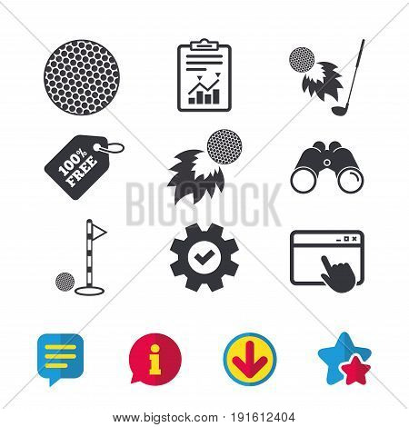 Golf ball icons. Fireball with club sign. Luxury sport symbol. Browser window, Report and Service signs. Binoculars, Information and Download icons. Stars and Chat. Vector