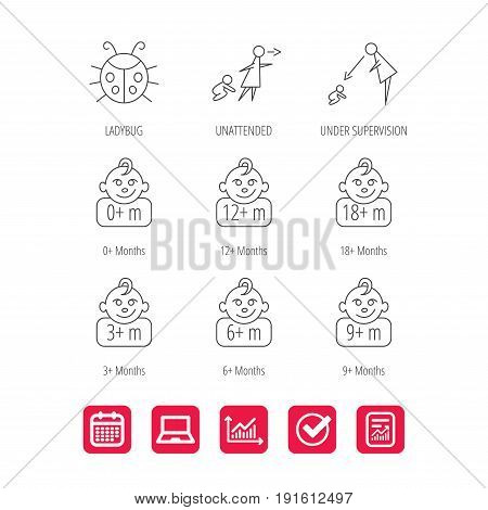 Infant child, ladybug and toddler baby icons. 0-18 months child linear signs. Unattended, parents supervision icons. Report document, Graph chart and Calendar signs. Laptop and Check web icons. Vector