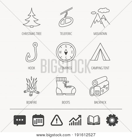 Mountain, fishing hook and hiking boots icons. Compass, backpack and bonfire linear signs. Camping tent, teleferic and christmas tree icons. Education book, Graph chart and Chat signs. Vector
