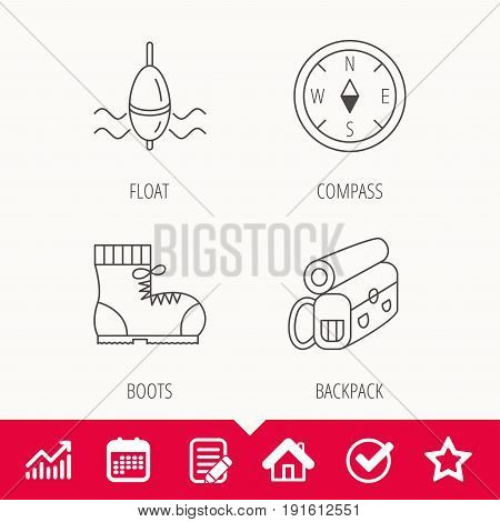Compass, fishing float and hiking boots icons. Backpack linear sign. Edit document, Calendar and Graph chart signs. Star, Check and House web icons. Vector