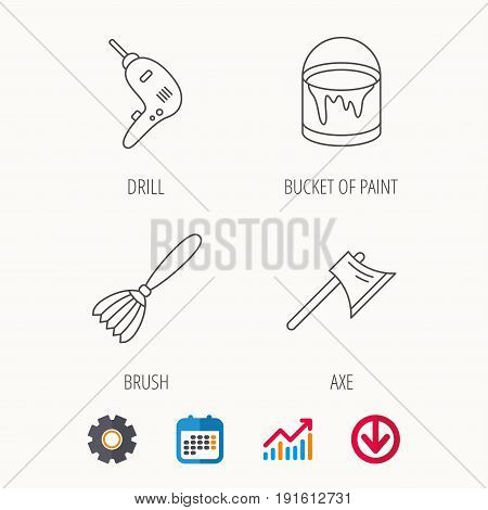 Drill tool, bucket of paint and axe icons. Brush linear sign. Calendar, Graph chart and Cogwheel signs. Download colored web icon. Vector